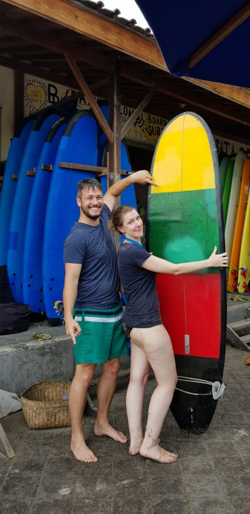 broken surfboard in Canggu