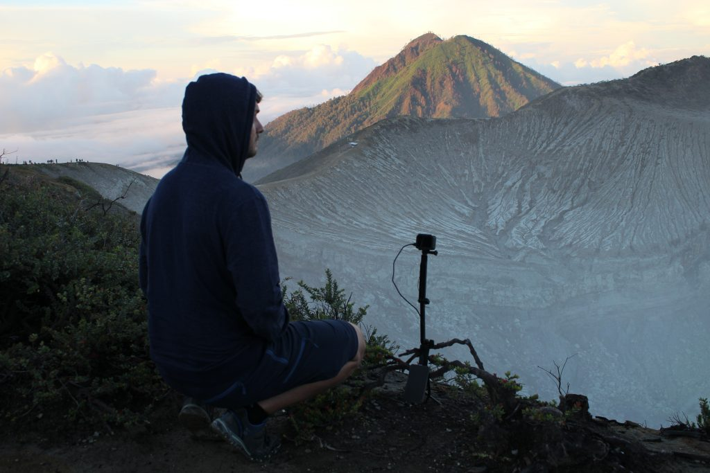 filming the sunrise on Mount Ijen