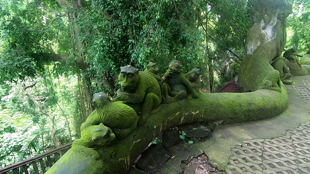 stone figures at the monkey forest in Ubud