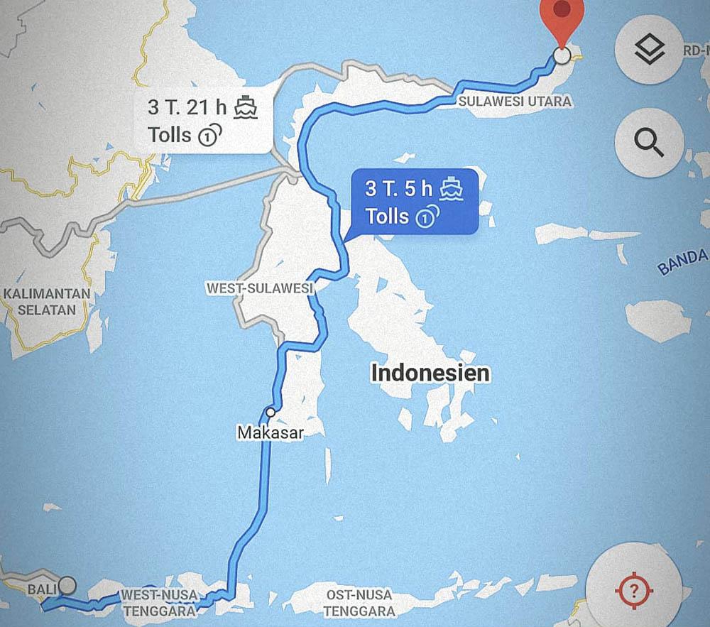 route through Indonesia