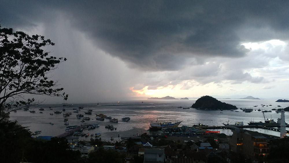 rain over the port of Labuan Bajo