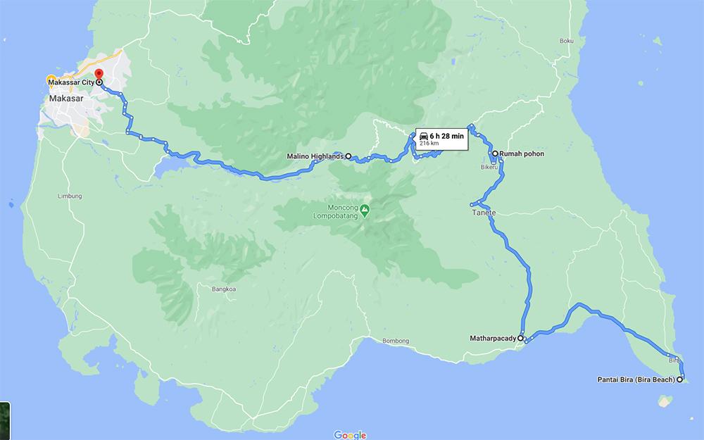 route across Sulawesi Selatan