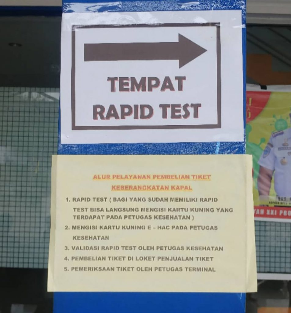 rapid test for the ferry